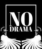 Ningún drama Vector el cartel con el ejemplo dibujado mano del pavo real stock de ilustración