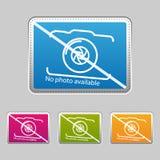 Ningún ejemplo colorido disponible del vector de la foto - etiqueta engomada metálica de plata - - aislado en Gray Background stock de ilustración