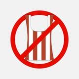 Ningún icono de la bolsa de plástico en el fondo blanco libre illustration
