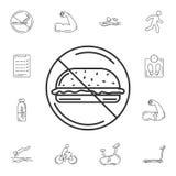 Ningún icono de la comida rápida Ejemplo simple del elemento Ningún diseño del símbolo de la comida rápida sistema de la colecció ilustración del vector