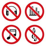 Ningún icono de la música grande para ningunos utiliza Vector eps10 Imágenes de archivo libres de regalías
