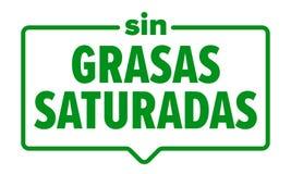 Ningún icono de las grasas saturadas, etiqueta española del paquete de la comida de los saturadas de los grasas del pecado El vec stock de ilustración