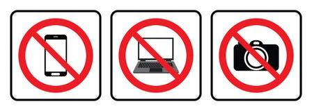 Ningún icono del ordenador portátil, ningún dibujo del símbolo de la cámara por el ejemplo libre illustration