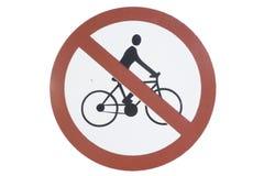 Ningún símbolo de entrada de la bicicleta Fotografía de archivo libre de regalías