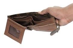 Ningún tenga dinero en la cartera aislada en el fondo blanco Imagenes de archivo
