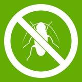 Ningún verde del icono de la muestra de la cucaracha Imagenes de archivo