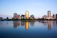 Ningbo city at morning. Ningbo city at the morning, in zhejaing China. Ningbo is an important port city  in the Yangtze River Delta. Ningbo's foreign trade Royalty Free Stock Photos