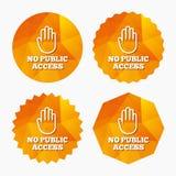 Ningún icono de la muestra del acceso público Símbolo de la parada de la precaución Imágenes de archivo libres de regalías