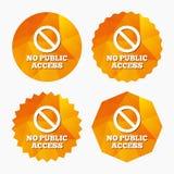 Ningún icono de la muestra del acceso público Símbolo de la parada de la precaución Imagen de archivo libre de regalías