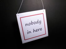 Ninguém dentro aqui Foto de Stock