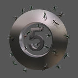 Ningún símbolo 5 con algunos enanos Imágenes de archivo libres de regalías