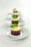 Ningún cueza al horno 3 pasteles de queso de los chocolates Imagenes de archivo