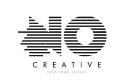 NINGUNA letra Logo Design de la cebra de N O con las rayas blancos y negros Fotos de archivo