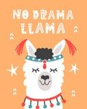 Ninguna llama del drama Cartel dibujado mano con alpaca linda de la historieta ilustración del vector