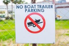 Ninguna muestra del estacionamiento del remolque del barco Imagenes de archivo