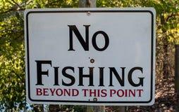 Ninguna pesca más allá de este punto imagen de archivo