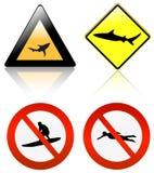 Ninguna resaca y nadada, peligro del tiburón stock de ilustración