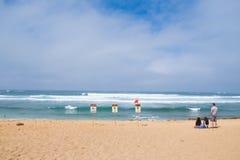 Ningunas advertencias de la resaca de la natación en Oahu Hawaii Fotos de archivo libres de regalías