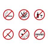 Ningunas drogas, ningunas muestras de la prohibición del alcohol Vector stock de ilustración
