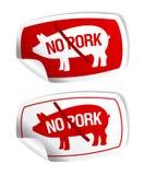 Ningunas etiquetas engomadas del cerdo. Imagenes de archivo