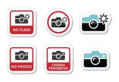 Ningunas fotos, ningunas cámaras, ningunos iconos de destello Imagen de archivo libre de regalías