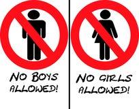 Ningunas muchachas o muchachos permitidos Fotografía de archivo libre de regalías