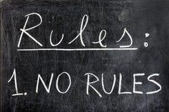 Ningunas reglas en la pizarra Foto de archivo libre de regalías
