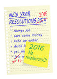 Ningunas resoluciones del Año Nuevo 2016 Fotos de archivo