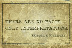 Ningunos hechos Nietzsche foto de archivo