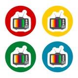 Ningunos iconos de la señal de la TV fijados stock de ilustración