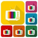 Ningunos iconos de la señal de la TV fijaron con la sombra larga ilustración del vector