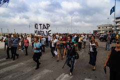 Ningunos manifestantes del golpecito con las banderas Fotos de archivo
