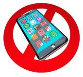 Ningunos teléfonos elegantes no llaman charla sobre el teléfono del teléfono celular ilustración del vector