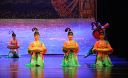 Ningxia girl-Hui ballet moon over Helan Stock Photos