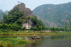 Ninh Bình limestone scenery. Ninh Bình province of Vietnam, in the Red River Delta region of the northern part of the country. Natural beauty sights royalty free stock image