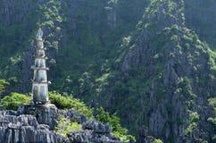 Ninh Binh, Vietnam. Mountain pagoda, Vietnamese architecture stock photo