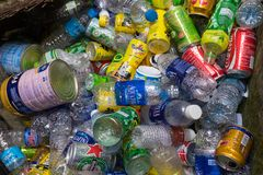 Ninh Binh, Vietnam - May 16, 2015: Rubbish drinking plastic bottles in destination travel place at Bich temple royalty free stock image
