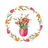 Ninho da Páscoa da aquarela com ovos, flores, ramos e um coelho em um fundo branco Elemento do projeto para cumprimentar ilustração royalty free