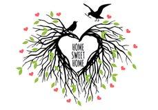 Ninho dado forma coração do pássaro, vetor ilustração stock