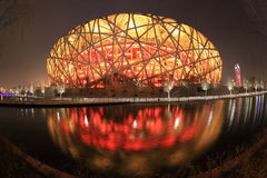 Ninho do pássaro iluminado em Beijing Fotografia de Stock Royalty Free