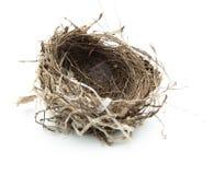 Ninho dos pássaros isolado no branco. imagens de stock royalty free