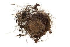 Ninho vazio dos pássaros isolado no fundo branco Fotografia de Stock
