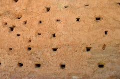 Ninhos artificiais caóticos dos pássaros na parede imagens de stock
