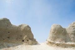 Ninhos dos pássaros em uma rocha arenosa Foto de Stock Royalty Free