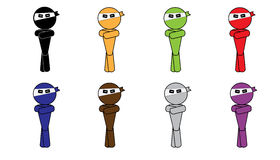 Ninja五颜六色人的符号 图库摄影