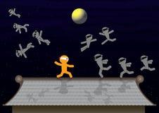 Ninja人标志争斗 免版税库存照片