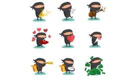 Ninja吉祥人设置了5 免版税库存图片