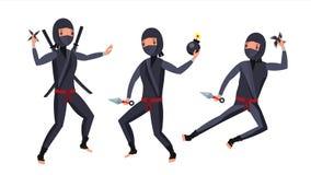 Ninja战士传染媒介 黑色诉讼 显示与武器的不同的行动 被隔绝的平的动画片例证 库存图片