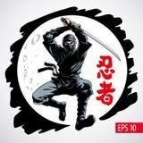 Ninja διανυσματική απεικόνιση επίθεσης πολεμιστών πηδώντας Η επιγραφή στην απεικόνιση είναι hieroglyphs του ninja, ιαπωνικά διανυσματική απεικόνιση