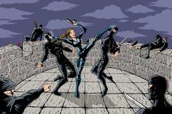 ninja επίθεσης διανυσματική απεικόνιση